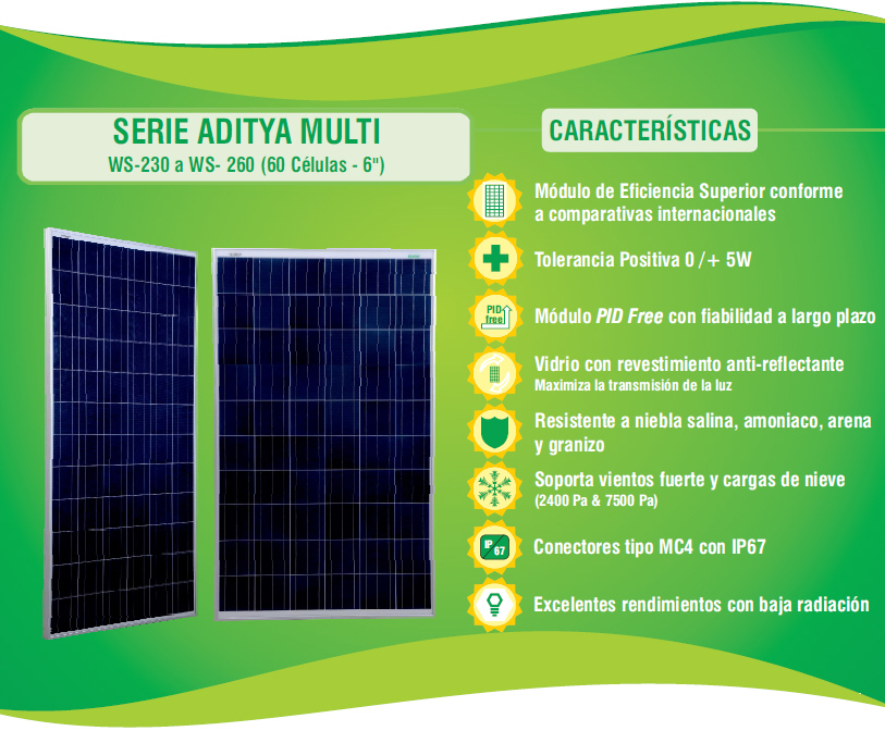 panel solar fotovoltaico waaree 260w